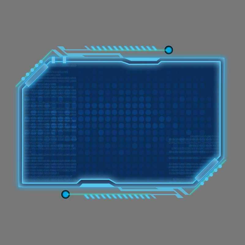 科技风格蓝色发光线条背景组成的斜角方形文本框信息框7701137免抠图片素材