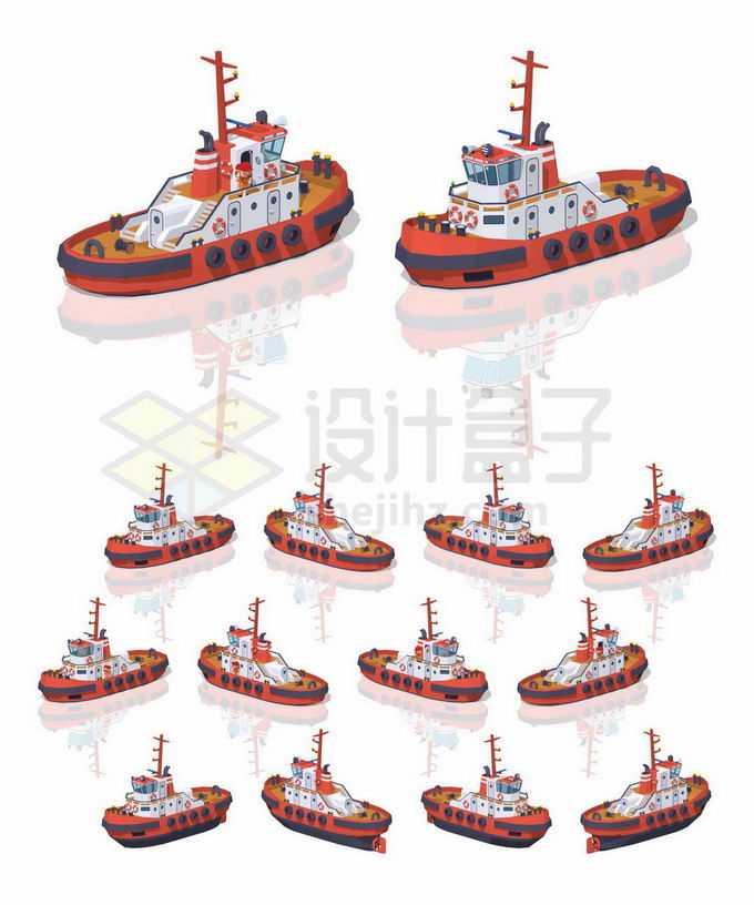 不同角度的3D立体红色拖船救援船7436757矢量图片免抠素材