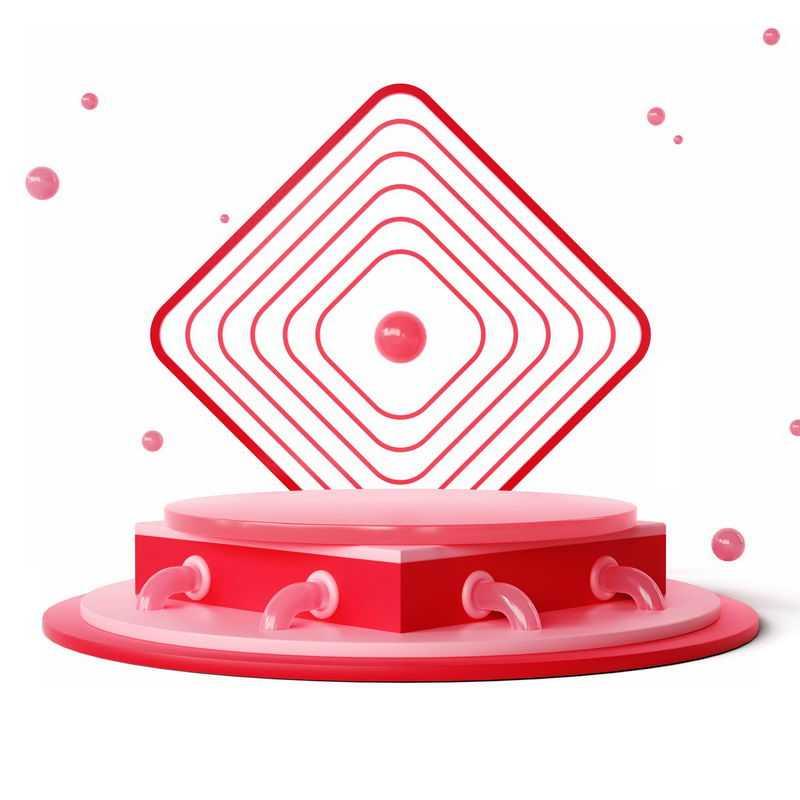3D立体同心线条红色方框装饰红色圆形展台6673164免抠图片素材