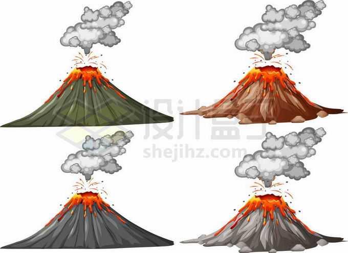 4款火山喷发自然灾害手绘插画1590616矢量图片免抠素材