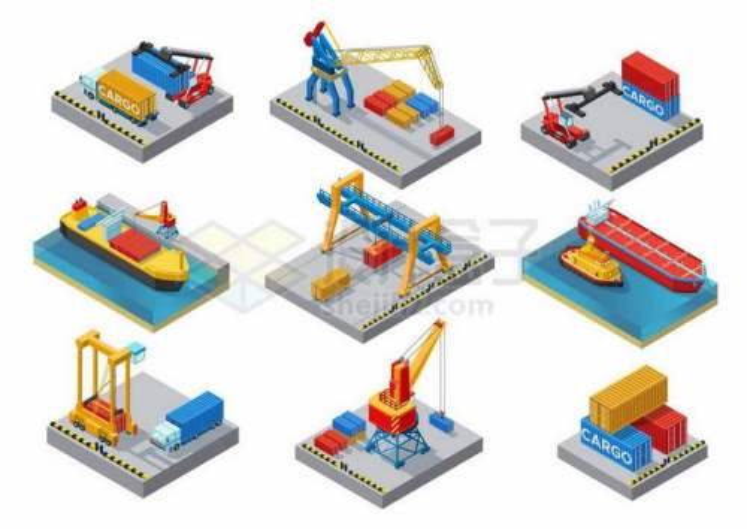 9款2.5D风格集装箱卡车吊车吊机起重机轮船邮轮等港口码头设施3220989矢量图片免抠素材