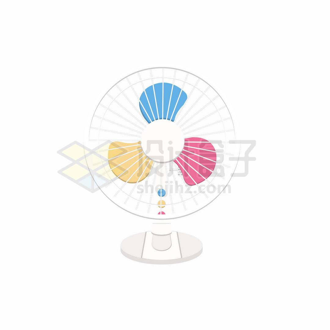 三种颜色的卡通小电风扇8020779矢量图片免抠素材