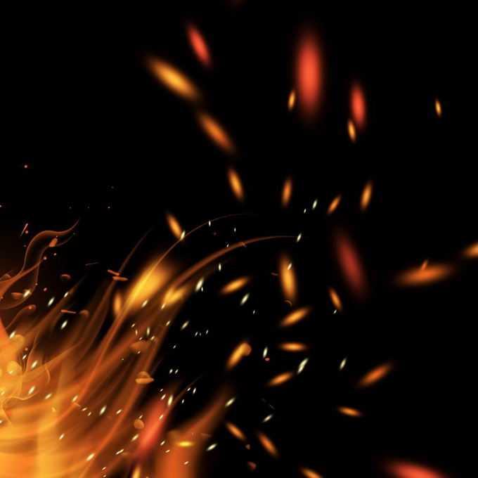 燃烧火焰灰烬中飞舞的火星子火花效果6536256免抠图片素材