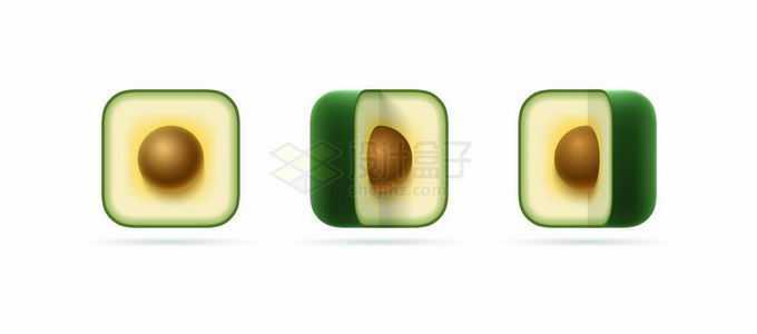 3款牛油果切面创意水果圆角方形图标4687865矢量图片免抠素材免费下载