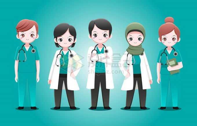 5个可爱的卡通医生护士医护工作者1797583矢量图片免抠素材
