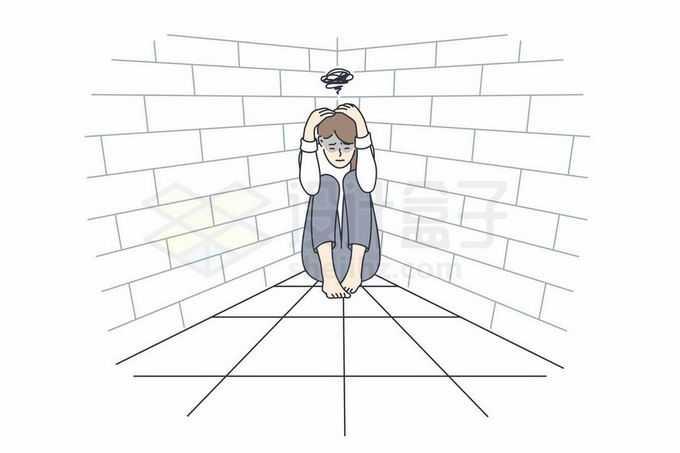 躲在墙角思维混乱的女孩象征了心理疾病手绘线条插画3925604矢量图片免抠素材免费下载