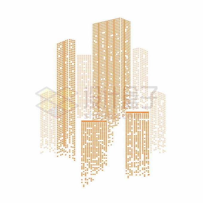 橙色方块组成的城市天际线高楼大厦建筑图案8626805矢量图片免抠素材