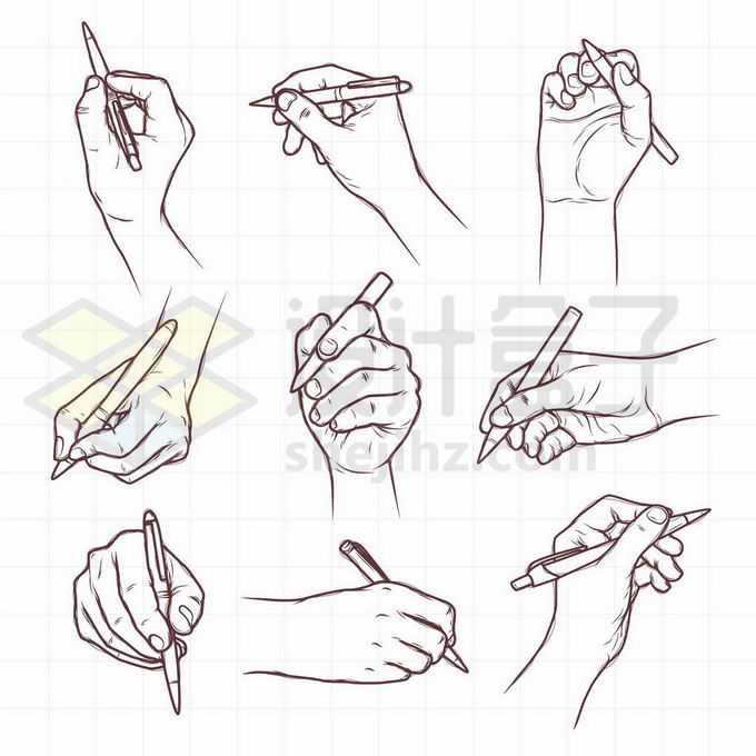 9种拿笔的姿势手绘线条插画5264472矢量图片免抠素材