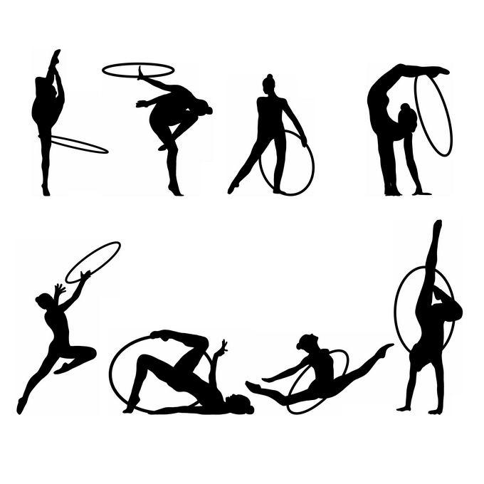 8款艺术体操运动员奥运会人物剪影1476159免抠图片素材 人物素材-第1张