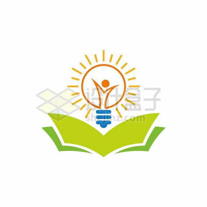 抽象电灯泡和打开的绿色书本创意文化教育类logo标志设计9340597矢量图片免抠素材