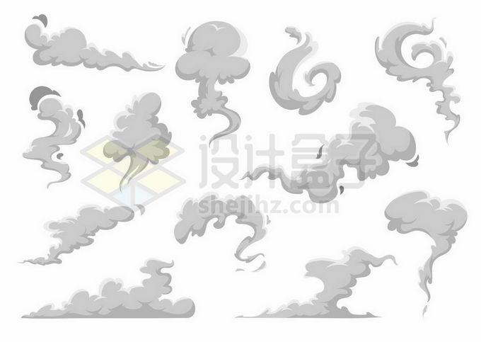 各种灰色漫画风格烟雾尘土冒烟效果3729446矢量图片免抠素材 效果元素-第1张