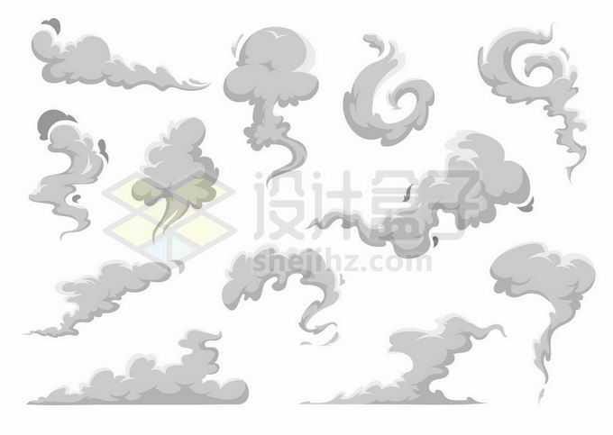 各种灰色漫画风格烟雾尘土冒烟效果3729446矢量图片免抠素材