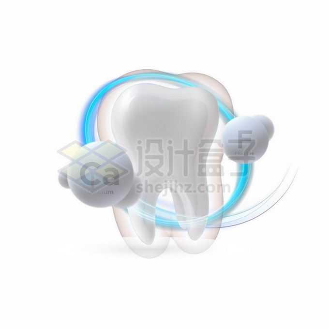 3D立体洁白的牙齿发光效果和钙质氟元素牙齿保健7947598矢量图片免抠素材