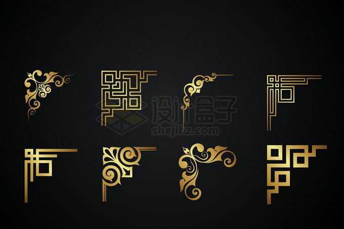 8款金色金属光泽复古直角框架几何形状艺术花纹装饰4945097矢量图片免抠素材免费下载