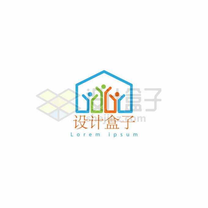 彩色线条小人儿组成的房屋创意教育学校标志logo设计6938705矢量图片免抠素材
