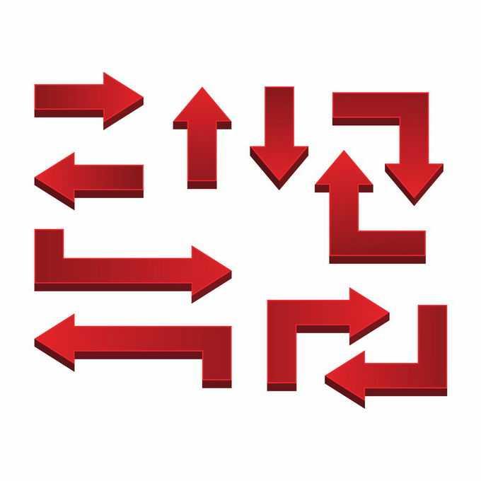 各种3D立体风格红色箭头方向箭头2341170矢量图片免抠素材免费下载