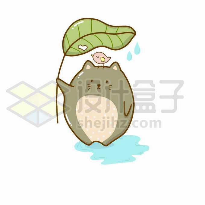 可爱的卡通龙猫小猫咪拿着一个树叶挡雨4934439矢量图片免抠素材免费下载