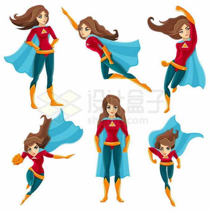 6款身披蓝色披风的卡通女超人插画9231070矢量图片免抠素材免费下载