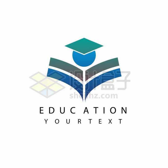 打开的书本组成的学生小人儿创意教育学校类标志logo设计4583088矢量图片免抠素材