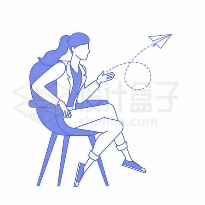 紫色线条商务女士坐在椅子上放飞纸飞机象征职场女性放飞梦想1707113矢量图片免抠素材免费下载
