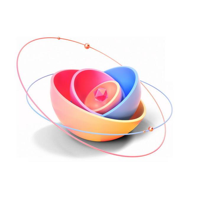 3D立体风格抽象半球形和周围的卫星轨道线6368302PSD免抠图片素材 线条形状-第1张