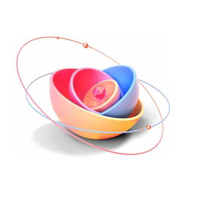 3D立体风格抽象半球形和周围的卫星轨道线6368302PSD免抠图片素材