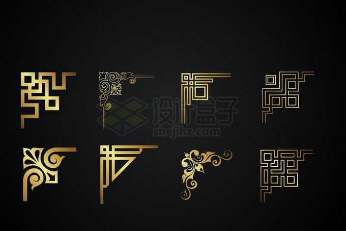 8款金色金属光泽复古直角框架几何形状艺术花纹装饰3775662矢量图片免抠素材免费下载