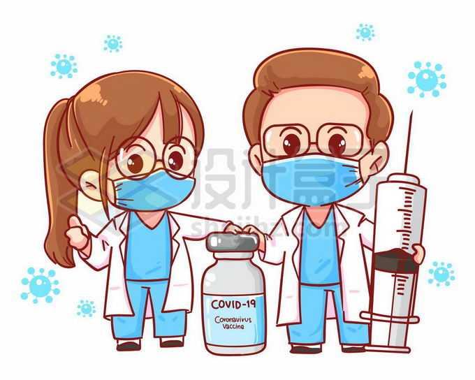 2个超可爱的卡通医生拿着注射器和疫苗西林瓶3731685矢量图片免抠素材免费下载