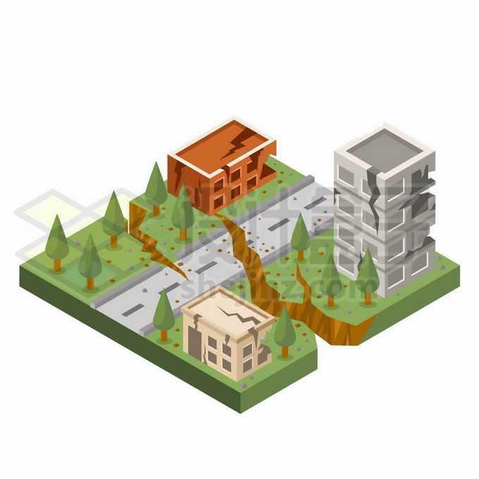 2.5D风格地震对城市建筑和道路的破坏性地面裂开6607294矢量图片免抠素材