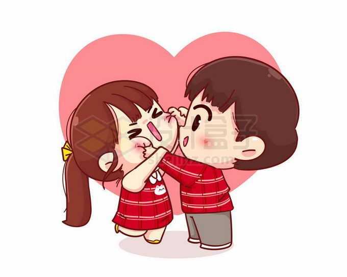 卡通男朋友捏女朋友的脸蛋欢喜冤家可爱情侣头像5143341矢量图片免抠素材免费下载