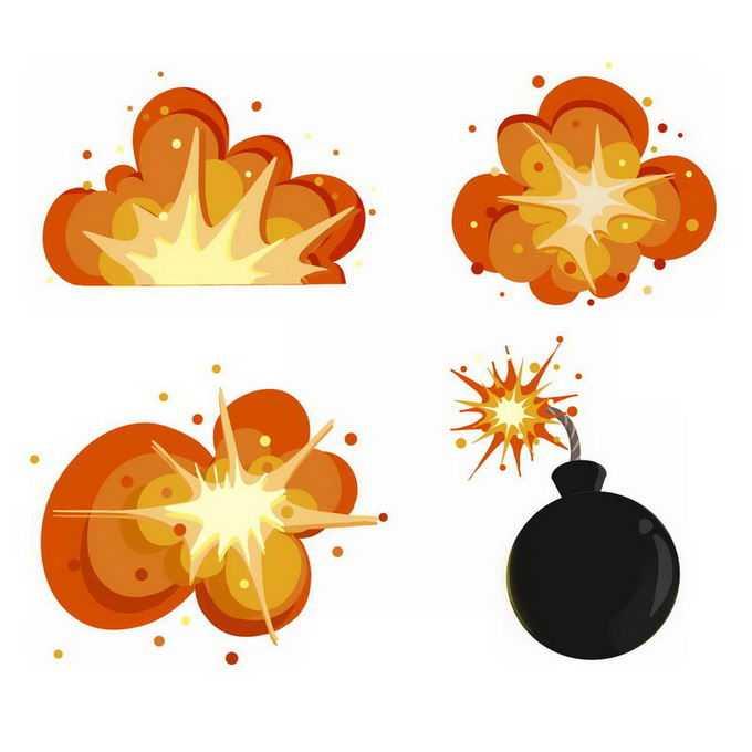 3款漫画风格的卡通爆炸效果和黑色炸弹1959437免抠图片素材