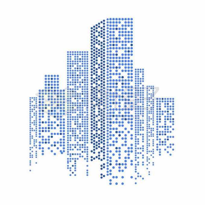 蓝色圆点组成的城市天际线高楼大厦建筑图案2247719矢量图片免抠素材