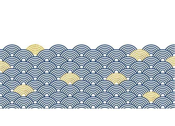 蓝色金色的中国风海浪波浪图案1496596免抠图片素材