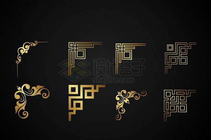 8款金色金属光泽复古直角框架几何形状艺术花纹装饰5620475矢量图片免抠素材免费下载