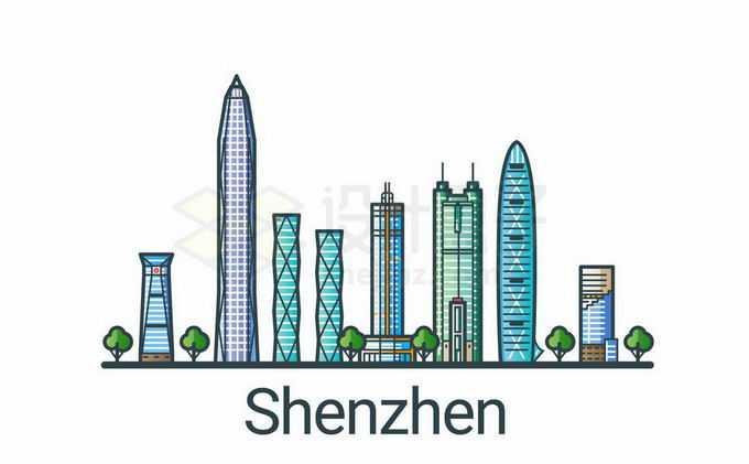 深圳地标建筑彩色手绘插画2335653矢量图片免抠素材免费下载