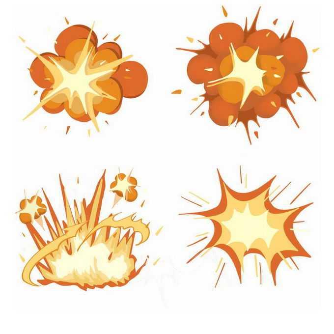 4款漫画风格的卡通爆炸效果4588971免抠图片素材