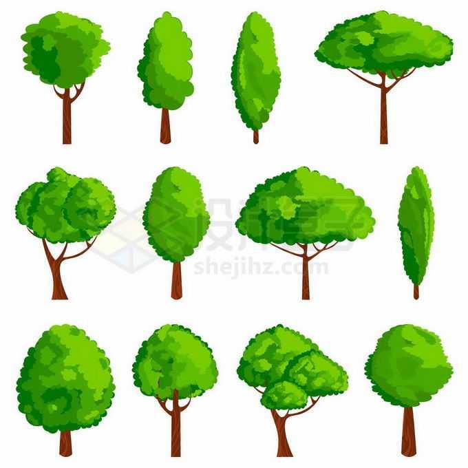 各种卡通风格的大树绿树园林树木6986292矢量图片免抠素材免费下载