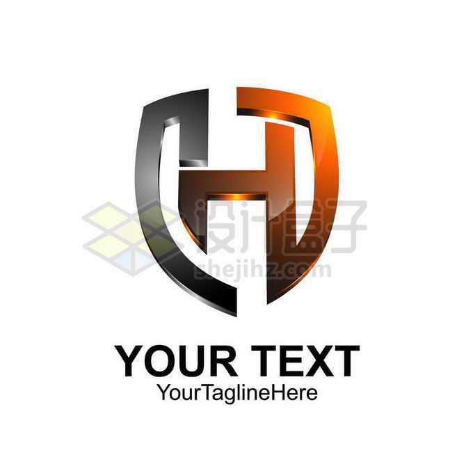 3D立体风格渐变色盾牌形大写字母H标志logo设计2686596矢量图片免抠素材