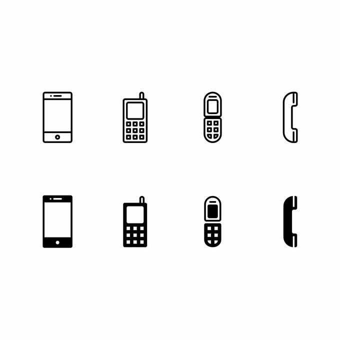 8款黑色线条手机和电话图标9181226矢量图片免抠素材免费下载