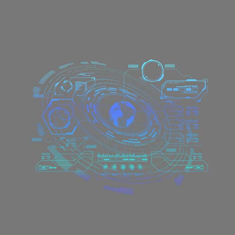 科技感十足的蓝色线条组成的地球图案和装饰6427160免抠图片素材