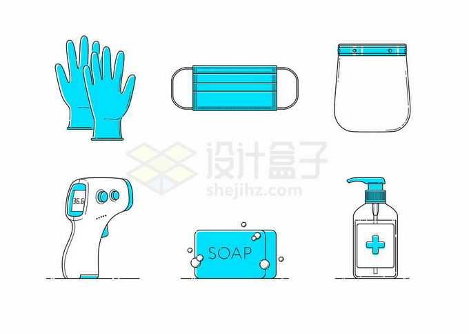 蓝色一次性手套口罩面罩额温计肥皂和消毒液等医疗用品3929921矢量图片免抠素材免费下载