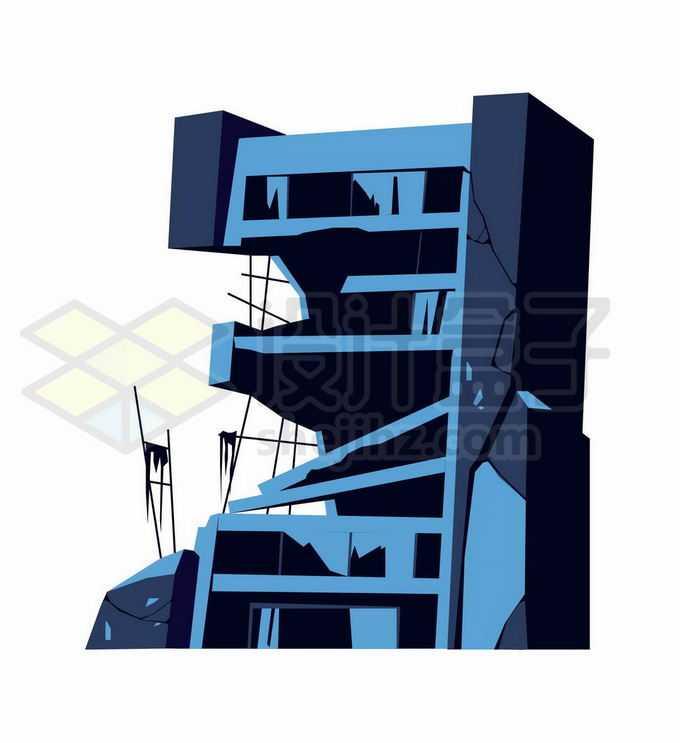 被地震或战争或遗弃以至于倒塌的卡通楼房插画3287894矢量图片免抠素材