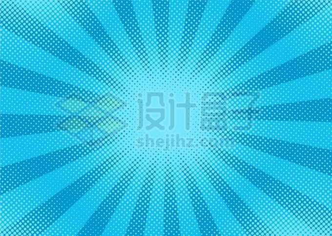 蓝色斑点波点组成的波普风格放射线背景图2142174矢量图片免抠素材免费下载