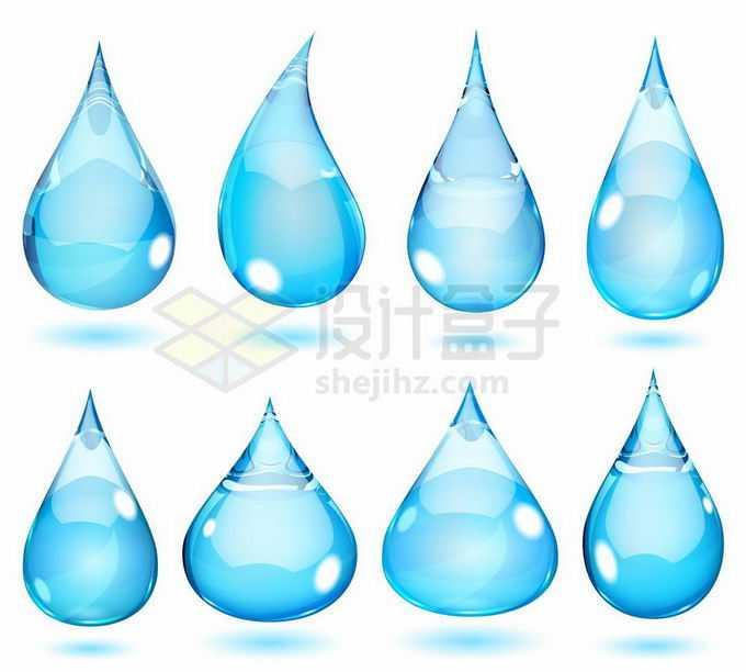 8款蓝色水滴液滴效果6964128矢量图片免抠素材