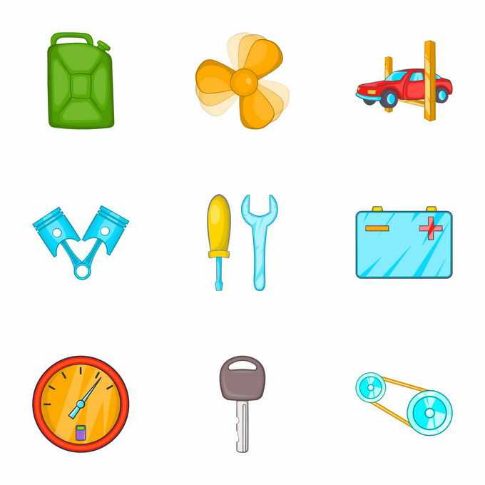 汽油桶散热扇发动机电瓶速度表钥匙等汽车维修卡通图标5756098矢量图片免抠素材免费下载