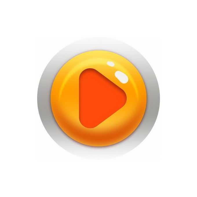 橙色的卡通圆形播放按钮游戏按钮7386776免抠图片素材免费下载