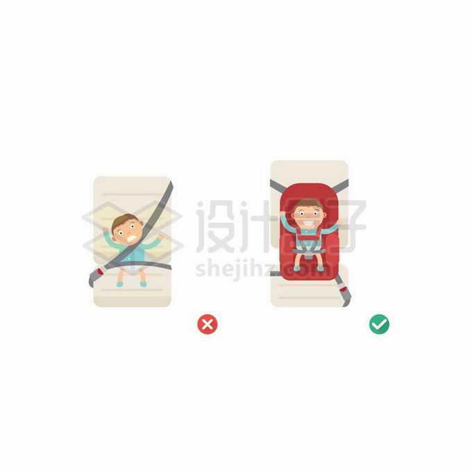 汽车儿童座椅的正确和错误使用示范对比7599679矢量图片免抠素材