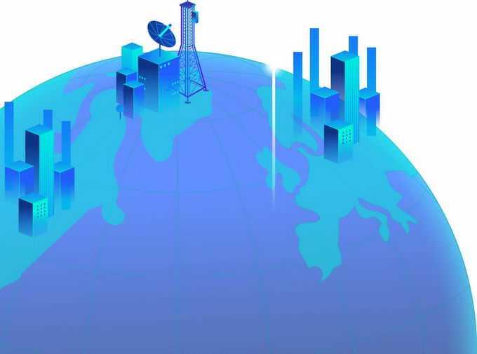 绿紫色地球上的高楼大厦和移动信号发射塔象征了5G技术在全球的应用8470643png图片素材