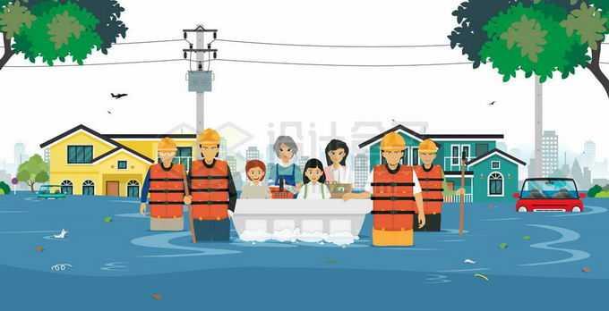 被洪水包围的房子以及救援人员用救生艇运送灾民9613146矢量图片免抠素材免费下载