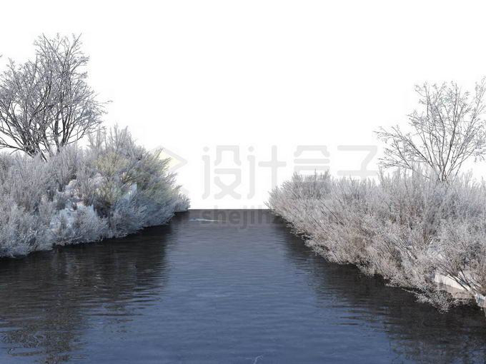 冬天被积雪覆盖的灌木丛和大树以及潺潺流水的小河风景5544573免抠图片素材免费下载 生物自然-第1张